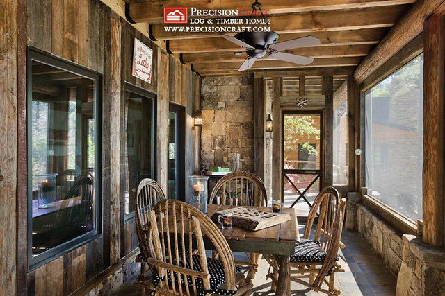 Screened in porch post beam home precisioncraft log for Log cabin sunrooms