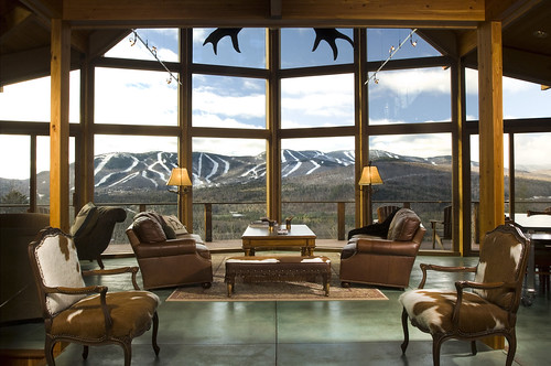 View out prow front wall of glass to ski slopes by for Prow style house plans