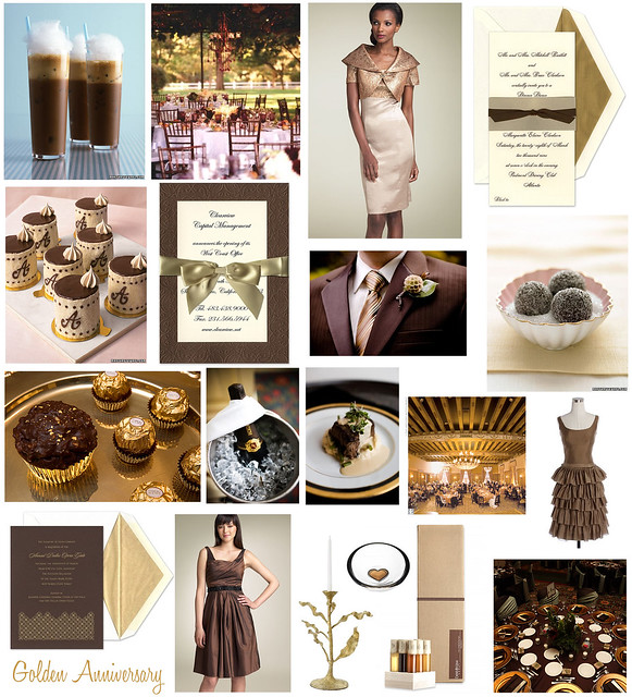 Brown And Gold Wedding Ideas: Gold And Brown 50th Golden Wedding Anniversary Inspiration