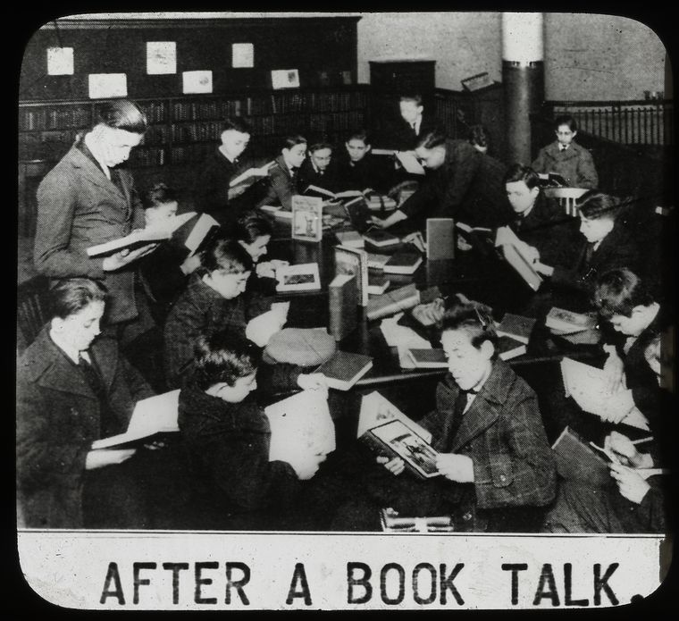 Work with schools : after a book talk, showing boys gathered... New York Public Library No known copyright restrictions
