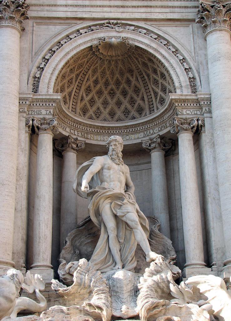 roma fontana di trevi oceano statue the trevi