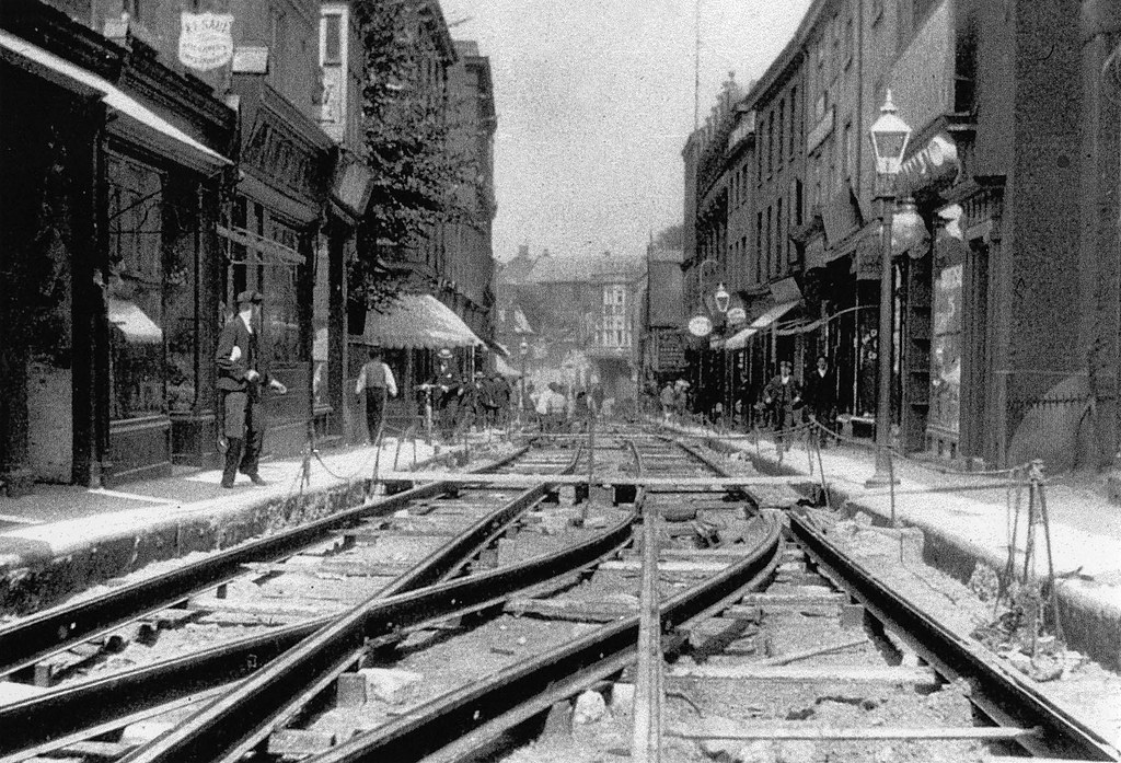St Stephen S Norwich Laying Tramlines 1900 Continuing