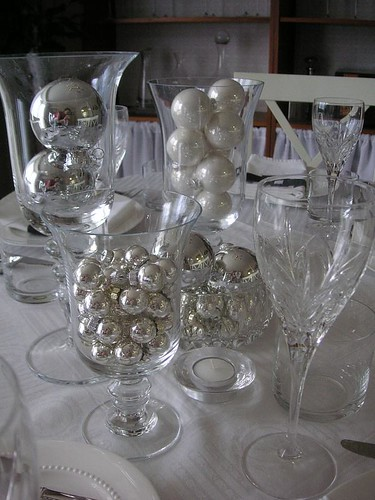 Black white silver table setting flickr photo sharing for Silver centerpieces for dining table