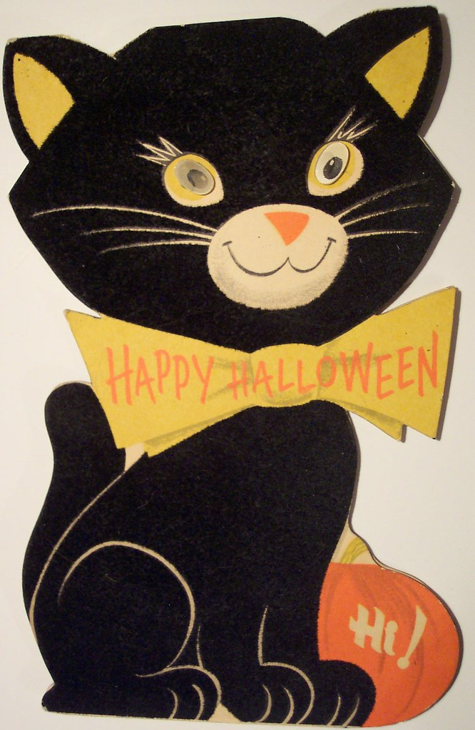 Vintage Halloween Diecut Cat Card