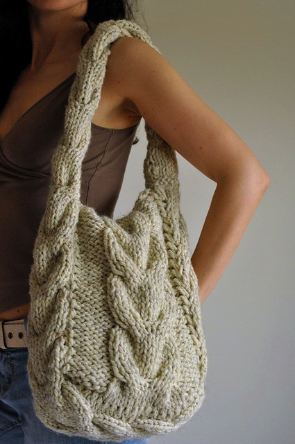 Bag Knitting Patterns In The Round : Soul of a Vagabond - classic cable knitted shoulder bag Flickr