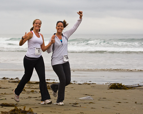 1 of 2 Two delightful girls give thumbs up - Runners at 1st Annual Rock 2 Rock 5 Mile Fun Run | by mikebaird