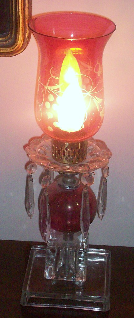 vintage pink crystal lamp i got this sweet pink lamp years flickr. Black Bedroom Furniture Sets. Home Design Ideas
