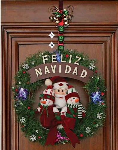 Corona musical m vil iluminada para puerta pared paseo po for Arreglo para puertas de navidad