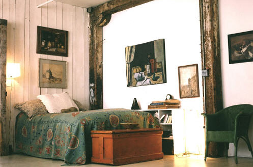 Modern Bohemian Bedroom White Blue Wood Photo By Ober