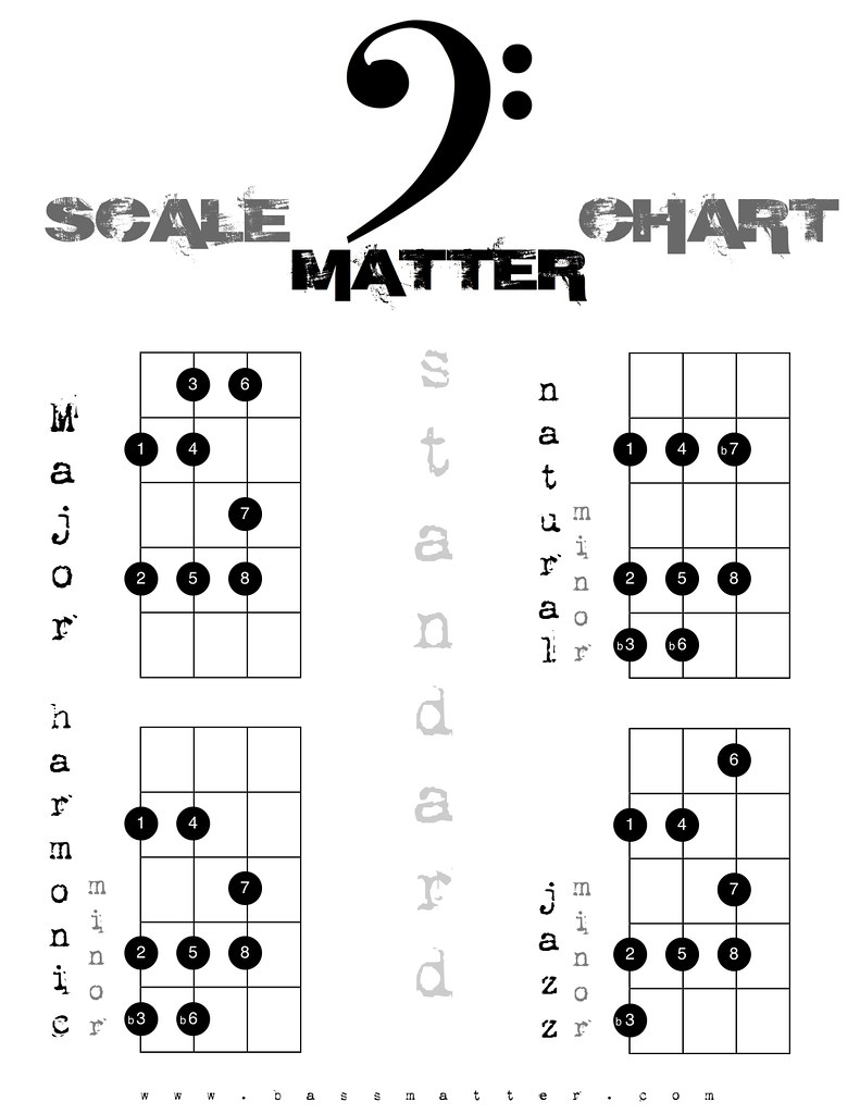Orchestra: Major Scales for Double Bass with fingerings | TpT |Orchestra Bass Scale Chart