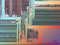 CPU from integrated circuit wafer, 50x magnification, DIC microscopy | by robot makes music