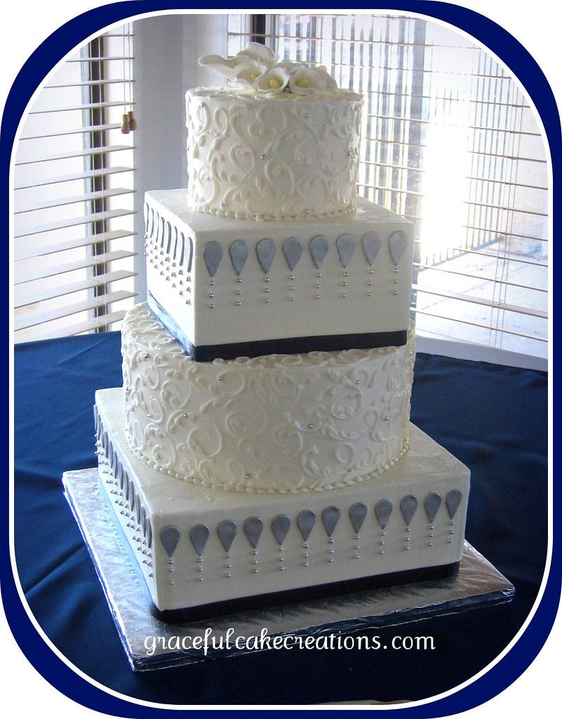 blue silver wedding flowers