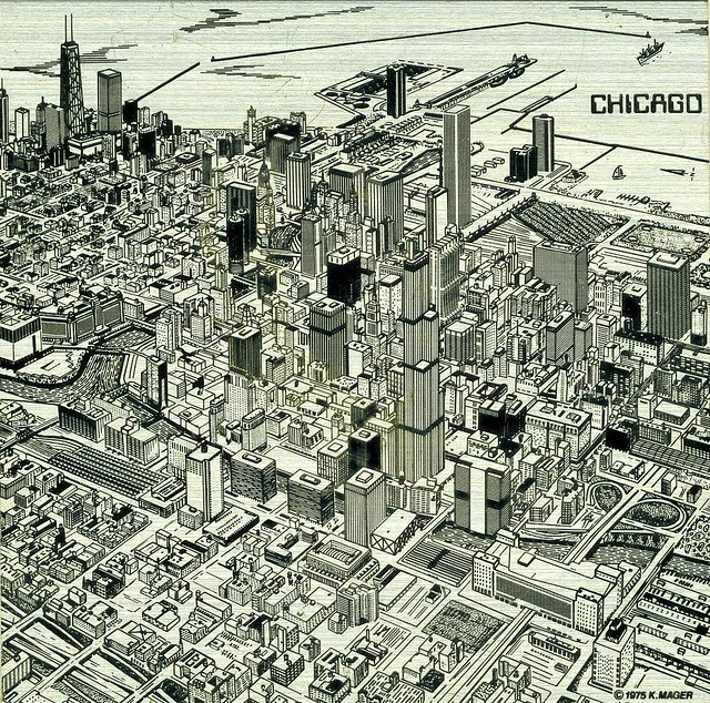 Chicago Skyline Etching 1975 Nice Skyline Etching By