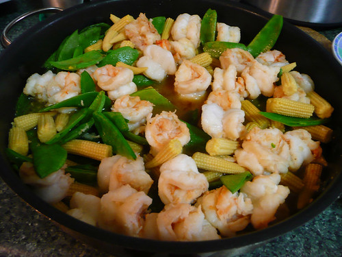 Stir-fried prawns, snow peas and baby corn | by The Food Pornographer