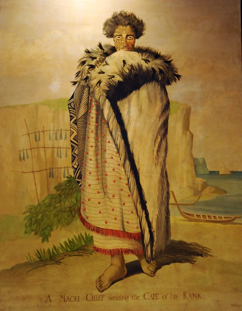 A Maori Chief wearing the Cape of his Rank, tattoos, fur ...