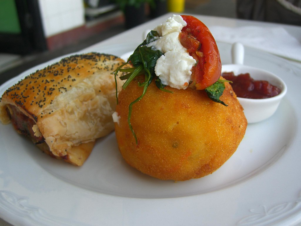 Pumpkin And Blue Cheese Arancini And Sausage Roll Luscio