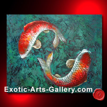 Koi fish painting 13 abstract art oil painting feng for Exotic koi fish