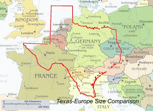 TEXAS EUROPE SIZE COMPARISON MAP  Texas vs Europe  misco  Flickr