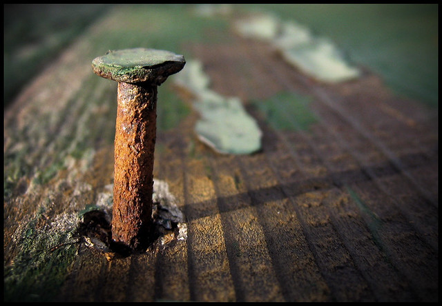 rusty nail in wood | maybe i should start smoking your ...