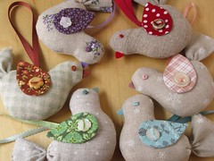 Linen Bird Ornaments | by PatchworkPottery
