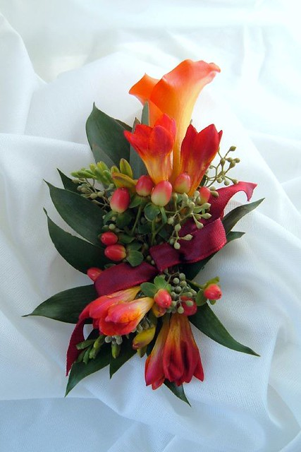 Corsage Wristlet Calla Lily Freesia Orange Burgundy Fall Flickr