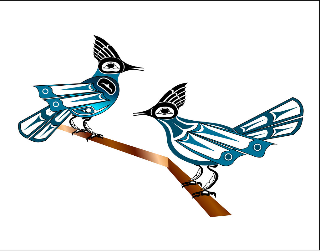 two jays haida point nw style art drawn on the computer