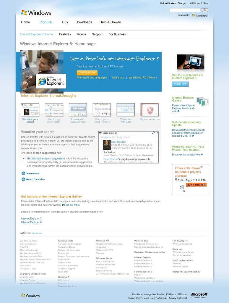 Windows internet explorer 8 home page for Windows home page