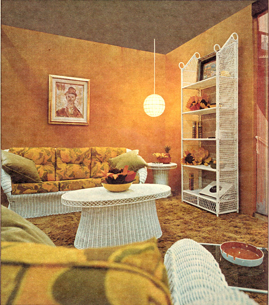 Orange living room design 1970 photo from canadian homes for Interior design for 12x12 living room