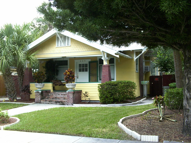 Yellow bungalow with brick columns flickr photo sharing Bungalow columns