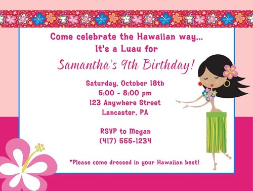 Hula Girl Invitations Hula Girl Birthday Party Ideas And