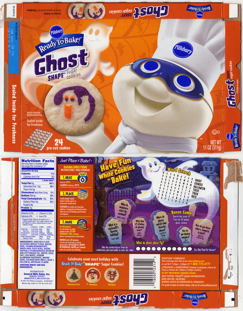 Pillsbury Ready-to-Bake Ghost Shape Sugar Cookies box - 20 ...