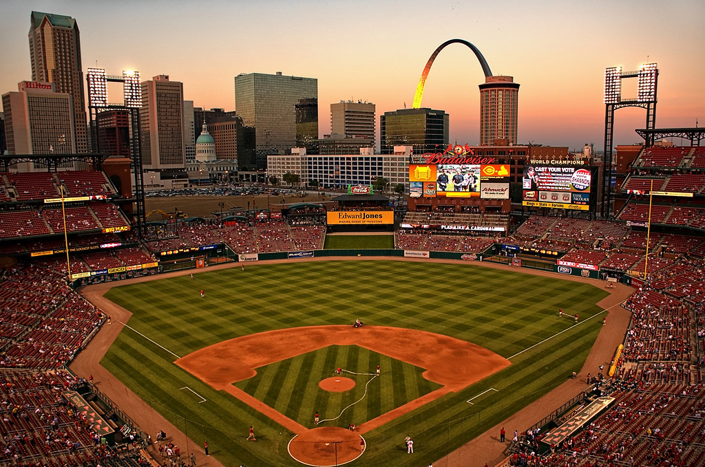 St Louis - Busch Stadium at Sunset | Large On Black See ...