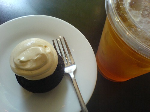 Chocolate Peanut Butter Cupcake + Pear Ginger Iced Tea | by clotilde