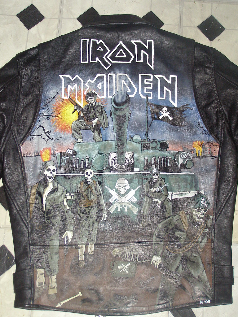 Custom Painted Iron Maiden Leather Jacket Done For