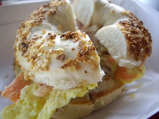 Egg, Lox and Onion Sandwich on Garlic Bagel | by swampkitty