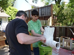 Andrew adding more plaster cloth