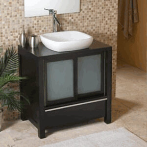 Decolav bathroom furniture with ceramic white wood vanity flickr for Bathroom vanity with frosted glass doors