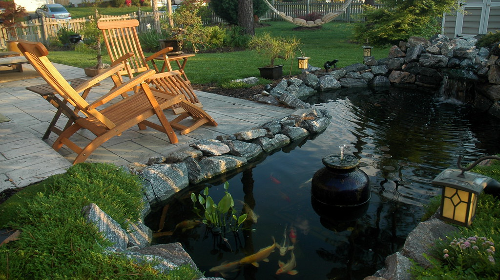 Backyard koi pond stamped concrete patio jeremy amaral for Outdoor koi pond