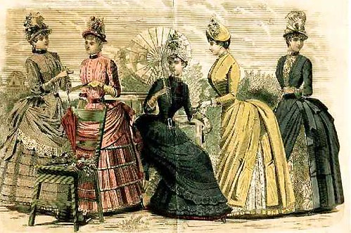 1880s Fashion Plate Feat Bustle Dresses Sacheverelle