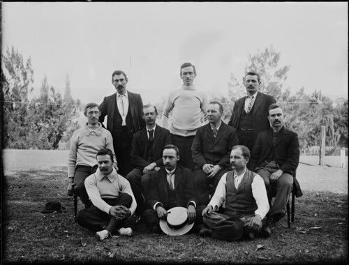 Ten men posed as for a sporting photograph | by Powerhouse Museum Collection