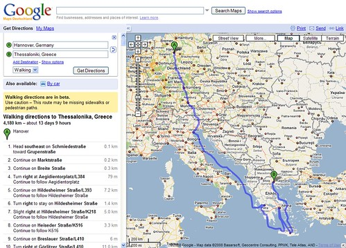 from hannover to thessaloniki by foot with google maps flickr. Black Bedroom Furniture Sets. Home Design Ideas