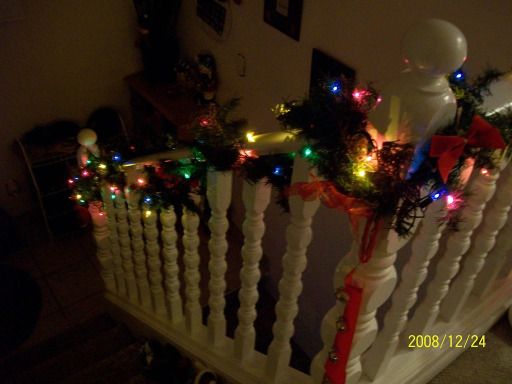 Christmas Railing Railing Decorated With Lights Haven