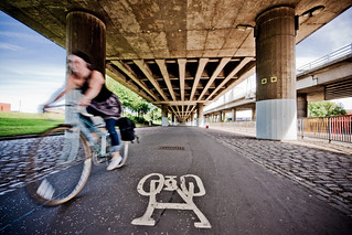 Cycling under the M8 | by Ben Cooper