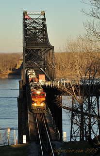 Kansas City Southern 4100 Eastbound Over the Mississippi River | by Jim Frazier