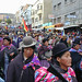 A demonstration in La Paz, Bolivia in support of the rights of indigenous workers who constitute the majority of people in this South American nation. President Evo Morales is under attack by pro-American political forces.