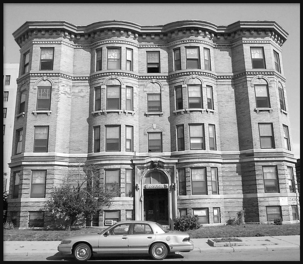 Wellesley Apartments Apartments Detroit Mi: Ansonia Apartments (South Elevation, B&W)--Detroit MI