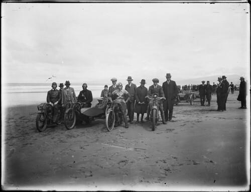 Motorcycle rally, New Brighton beach, Christchurch, ca 1920 | by National Library NZ on The Commons