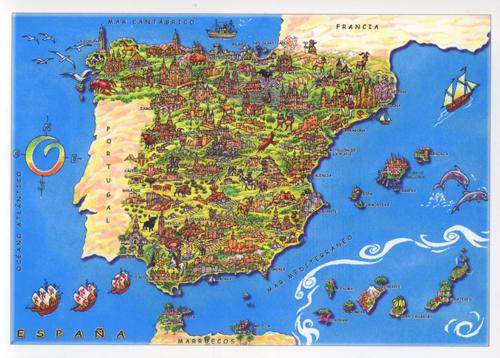 ... Spain-cartoon-map-card ...