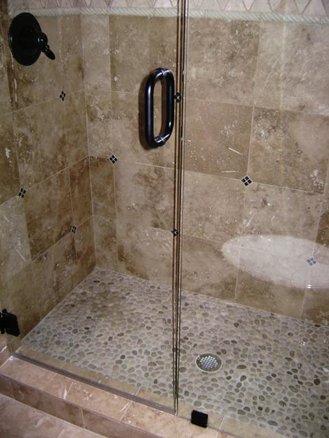 Custom Shower Custom Travertine Shower With River Rock
