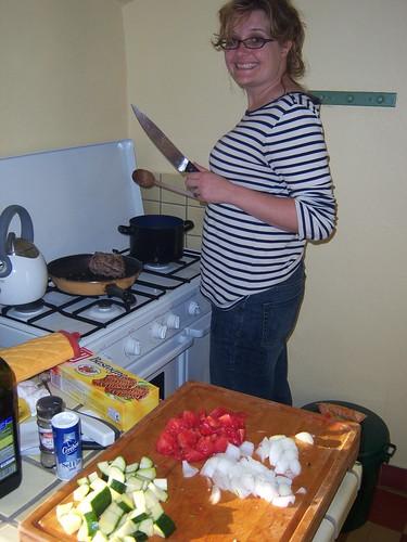 Jen Wielding a Knife